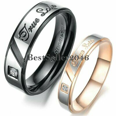 Stainless Steel  True Love  Engagement Promise Ring Couples Wedding Band