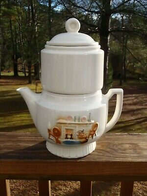 Porcelier HEARTH Vitreous China 7 Cup Coffee PERCOLATOR COFFEE POT 50s Complete