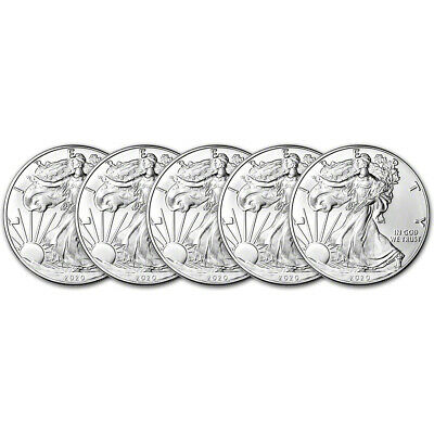 2020 American Silver Eagle 1 oz 1 - BU - Five 5 Coins