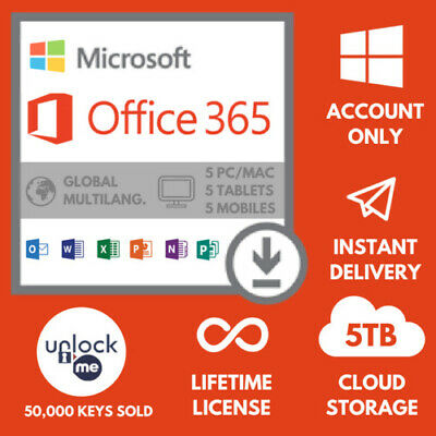 Microsoft OFFICE 365-2016 PRO PLUS Lifetime license 5 devices- Shipping 30 Sec-