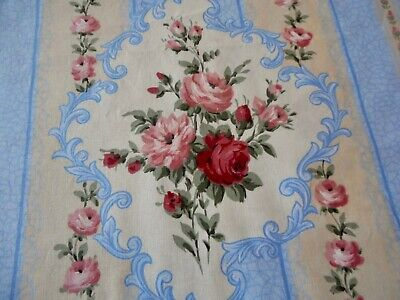 Vintage French Floral Roses Medallion Stripe Cotton Fabric  Rose Red Blue Moss