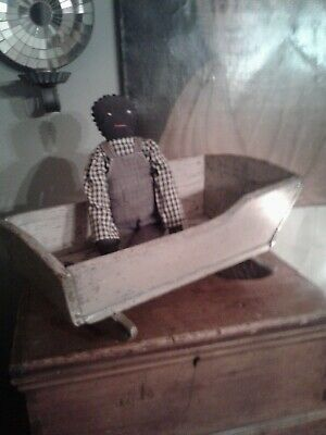 antique primitive early small doll cradle with doll