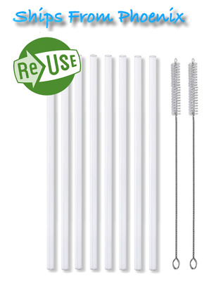 8 New Plastic Reusable Straws 2 Cleaning Brushes Fits Hydro Flask Straw Lid 10