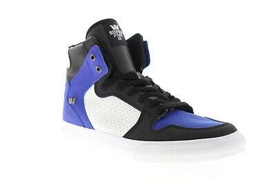 Supra Vaider 08044-475-M Mens Blue Leather High Top Lace Up Skate Sneakers Shoes