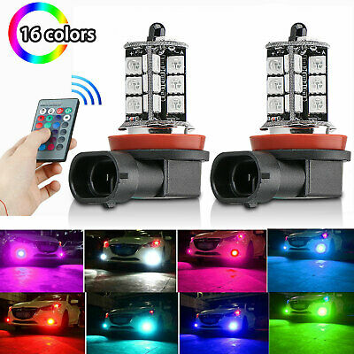 16Color RGB H11H8H9 LED Bulbs w Wireless IR Remote For Fog Light Driving Lamp