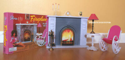 GLORIA DOLLHOUSE BARBIE FURNITURE Size FIREPLACE PlaySet W Chair - Table 96006