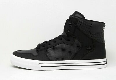 SUPRA Vaider Black White Men High Top Sneakers Shoes Synthetic Leather
