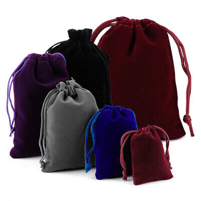 25-100 Velvet Drawstring Pouch Xmas Jewelry Baggie Ring Gift Bags Wedding Favors