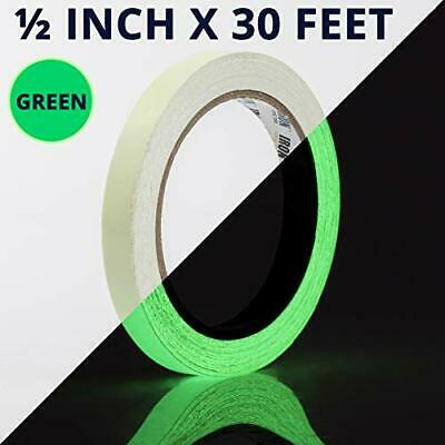 Glow Tape - 12 inch x 30ft Vinyl Adhesive Glow-in-The-Dark Tape Roll - Lasts up