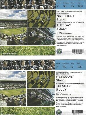 2016 WIMBLEDON PAIR OF TICKETS DAY 8 NO-1 COURT LAWN TENNIS CHAMPS TUES JULY 5