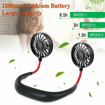 Portable USB Mini Fan Lazy Neck Rechargeable Neckband Dual Cooling Hanging Style