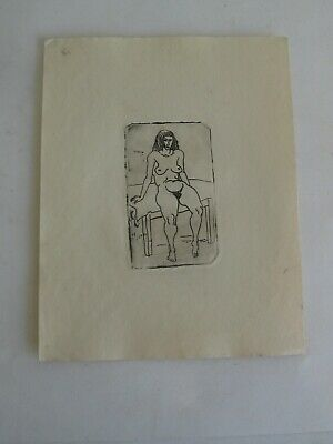 Vtg 1930s WPA NEW YORK LISTED ARTIST JOHN L JENSEN NUDE RISQUE WOMAN ETCHING