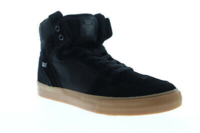 Supra Vaider 08044-095-M Mens Black Suede Lace Up High Top Sneakers Shoes 10