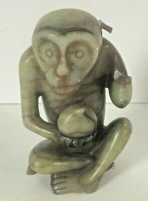Chinese Archaic Sanxingdui Carved Hardstone Mythical Monkey Holding Ball Statue