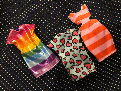 Barbie Doll Dresses Clothing Lot Outfits Clothes Rainbow Stripes Hearts