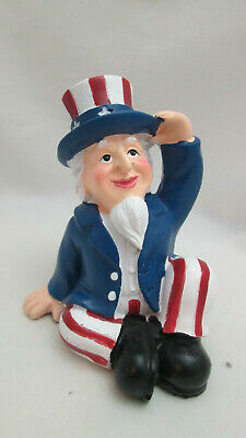 Patriotic  Fourth of July Table Top Resin Uncle Sam Sitting