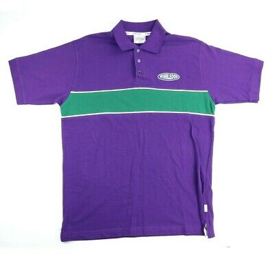 Vintage Wimbledon Lawn Tennis Polo Shirt Mens Size Large Purple Green Stripe