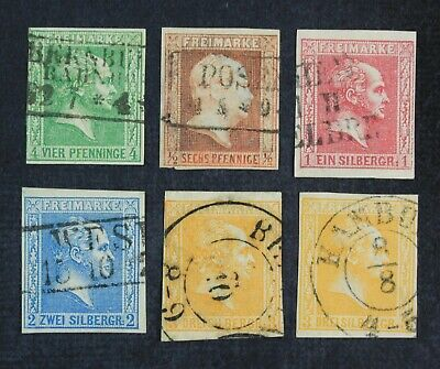 CKStamps Germany Stamps Collection Prussia Scott9-13 Used 10 Thin