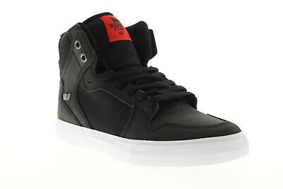 Supra Vaider 08204-039-M Mens Black Leather Surf High Top Skate Sneakers Shoes