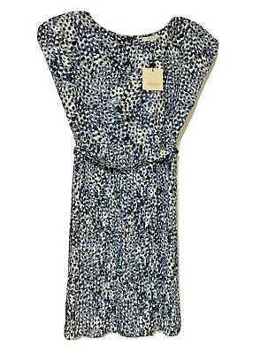Kate Middleton Great Plains Cezanne Pleated Dress Blue NWT Size Small SM Belted