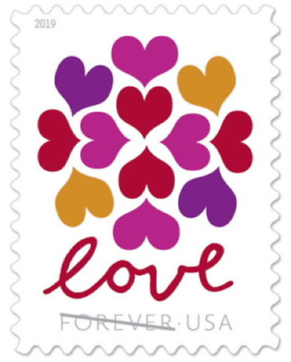 LOVE HEARTS BLOSSOM USPS FOREVER STAMPS 5 Panes of 20 100 stamps USA 565000