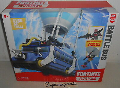 NEW FORTNITE BATTLE ROYALE COLLECTION BATTLE BUS - 2 FIGURES BURNOUT FUNK OPS