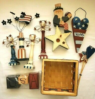 14-Piece Decor 4th of July USA Fireworks Stars Red White Blue Basket Uncle Sam