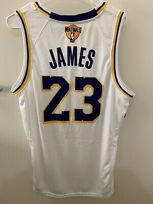 Lebron James White Los Angeles LA Lakers Jersey Size Large NBA Finals Patch