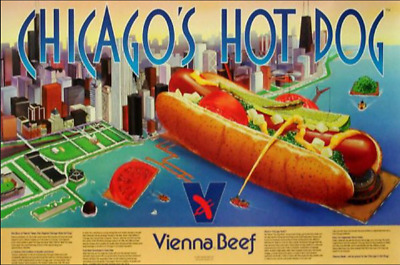 Classic Vienna Beef Chicago Style Hot Dog Vienna Beef Poster Sign Navy Pier
