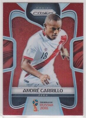 2018 Prizm World Cup Soccer Andre Carrillo  293 Red Refractor Card  077149