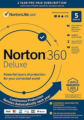 Norton 21389902 360 Deluxe 5 Devices Antivirus software Auto Renewal Key Card