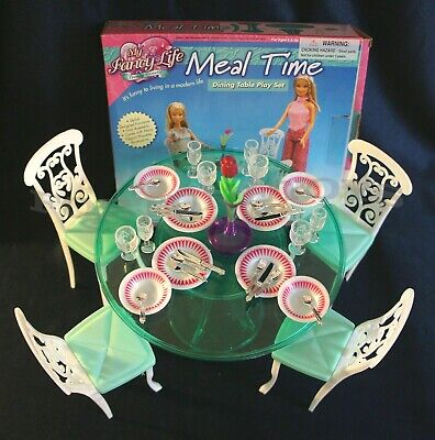 GLORIA FURNITURE SIZE DOLLHOUSE Meal Time 4 Chairs Round Dining Table Play Set