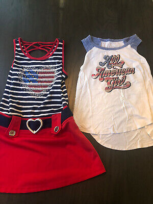 Girls USA America Lot Of 2 Size 6 Dress And Art Class Shirt Fourth Of July