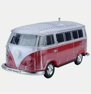 Volkswagen Bus Loud Red Speaker  BT IndoorOutdoor Portable USB PORTAUX INPUT