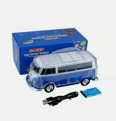 Volkswagen Bus Loud Blue Speaker  BT IndoorOutdoor Portable USB PORTAUX INPUT