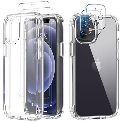 For iPhone 12ProMax11 Clear Case Cover-Camera Lens Protector-Tempered Glass