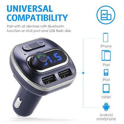 Blue Wireless Bluetooth FM Transmitter Auto-Car MP3 Player Radio Adapter Charger