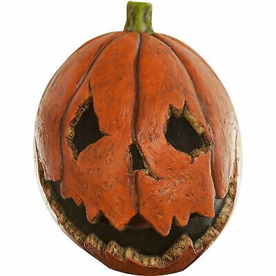 Pumpkin Ghoul Rubber Halloween Mask One Size Features Jack-O-Lantern Face