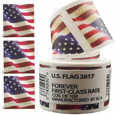 2017 USPS Forever US Flag Postage Stamps Coil of 100 Stamps Free - Fast Shipping