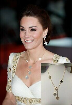 Kate Middleton Mother of Pearl clover - 1 Onyx necklace - Y Necklace