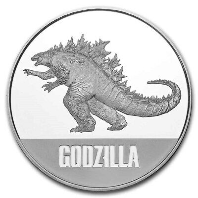 2021 Niue 1 oz Silver $2 Godzilla Coin with Capule & Coin Velvet Coin Pouch