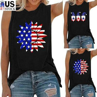 Womens Fourth of July American Flag Tank Blouse Casual Sleeveless T-Shirt Tops