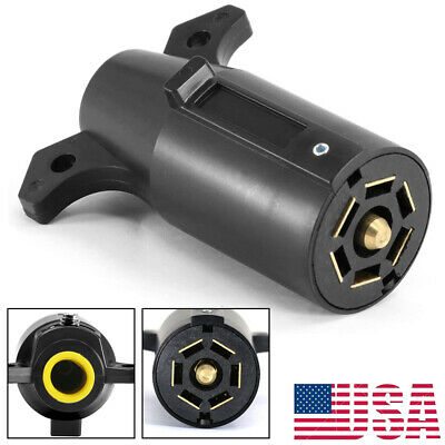 7 Way Blade Round Connector Pin Trailer Plug RV Style Replacement Adapter 12V