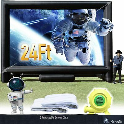 Sewinfla 24Ft Inflatable Movie Screen with Blower Front and Rear Projection