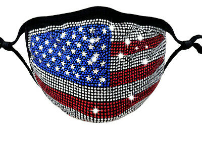 4th Fourth of July US USA bling face masks Bedazzled Diamond Rhinestone Sparkle