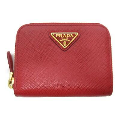 Authentic PRADA Zipped coin case purse wallet Purse Saffiano Red Used logo