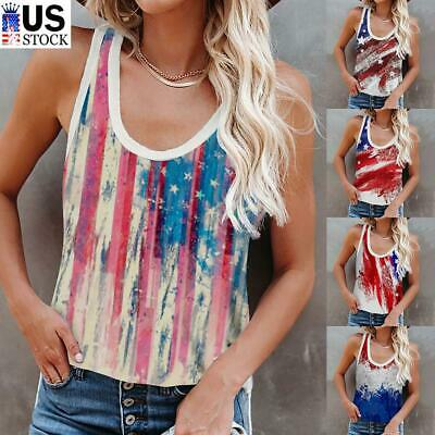 Womens American Flag Sleeveless T Shirt Fourth Of July Tank Tops Summer Blouse