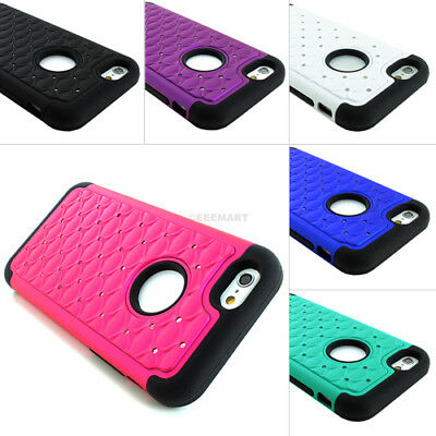 For Apple iPhone 6SPlus6 Lattice Bling Silicone Case-Tempered Glass Screen