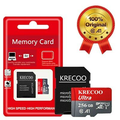 256GB Micro Memory SD Card Fast 4K Class10 A1 280MBS Flash TF Card with Adapter