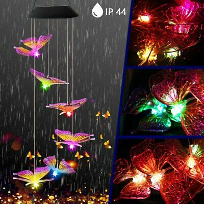 Solar Color Changing LED Butterfly Wind Chimes Garden Decor Lights Waterproof